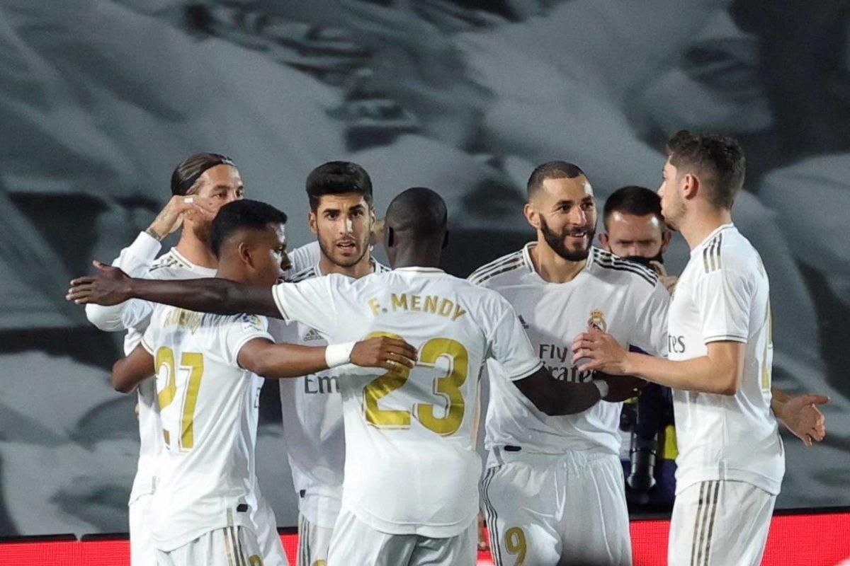El Real Madrid celebra un gol en Liga.