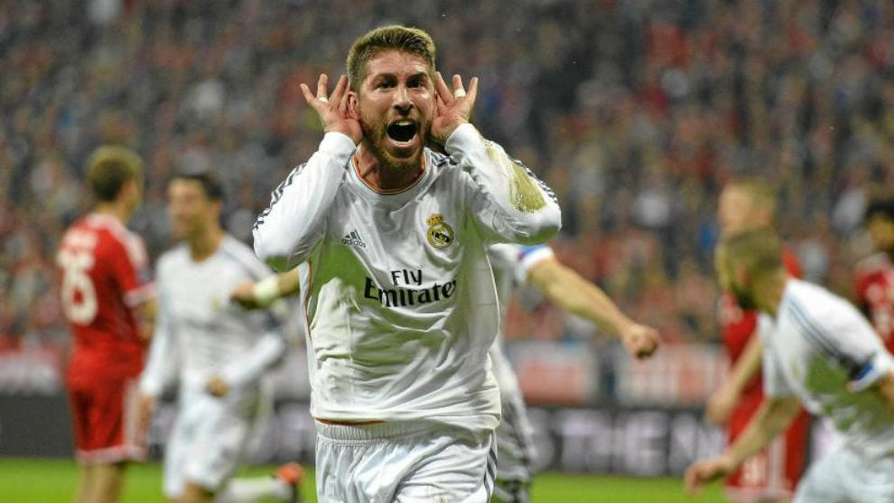 Sergio Ramos celebra un gol.