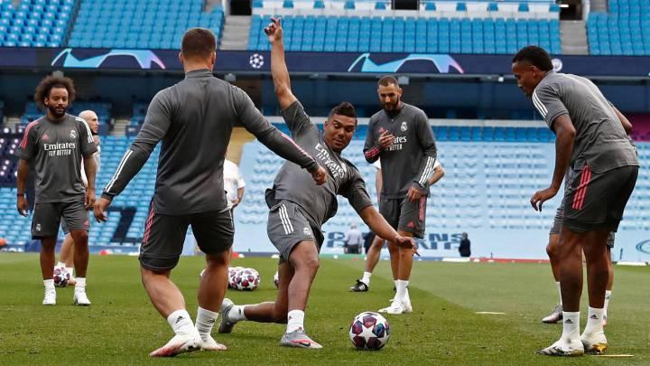 El Real Madrid entrena en el Etihad Stadium.