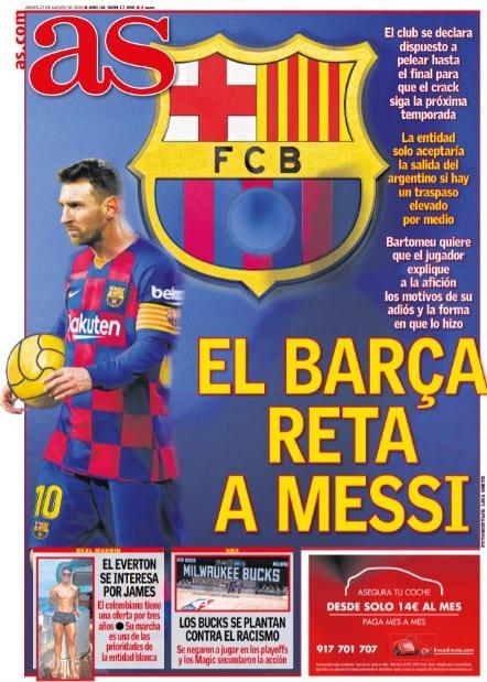 Portada AS Messi Barça