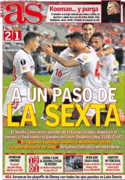 Portada Diario AS Sevilla sexta final