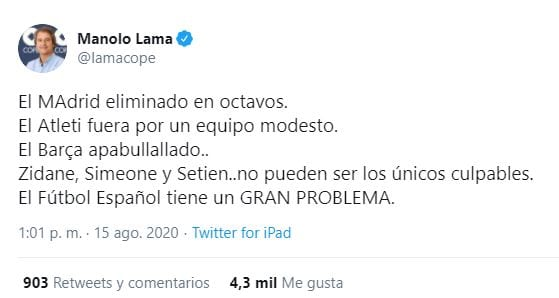 Tuit del periodista Manolo Lama.