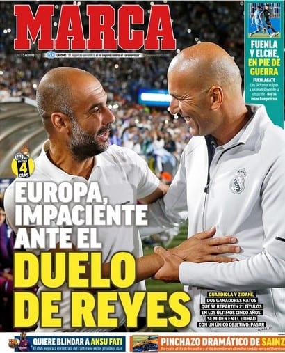 Guardiola y Zidane se saludan