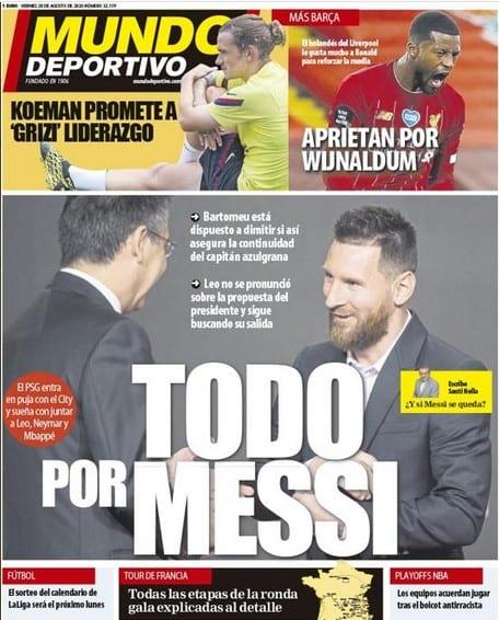 Portada Mundo Deportivo Messi decisión