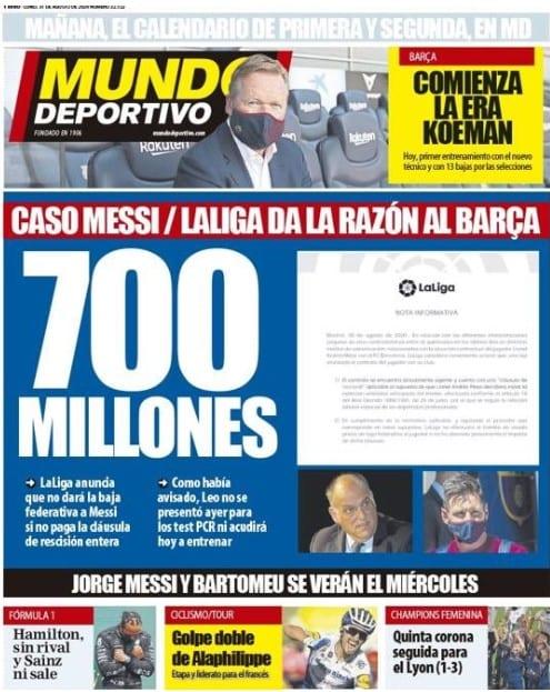 Portada Mundo Deportivo cláusula Messi