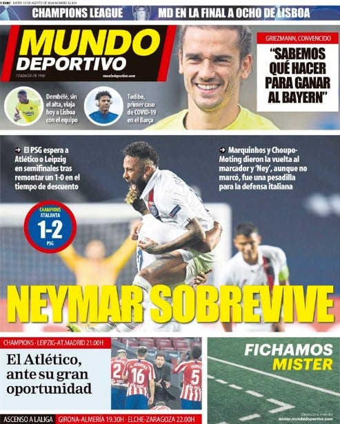Portada Mundo Deportivo Neymar Champions