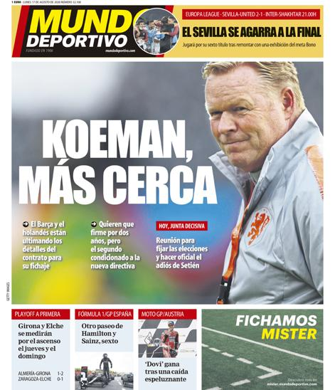 Portada Mundo Deportivo Koeman
