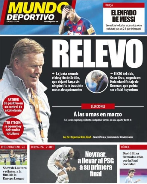 Portada Mundo Deportivo Koeman relevo
