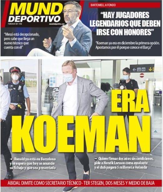 Portada Mundo Deportivo Koeman fichaje