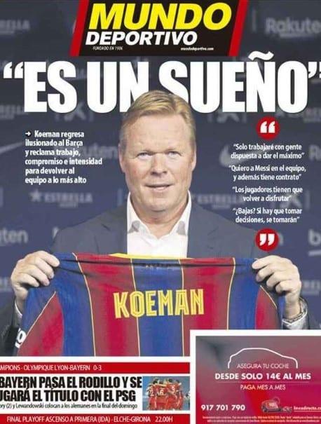 Portada Mundo Deportivo Koeman presentación