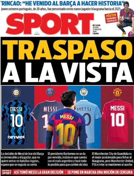 Portada Sport Messi traspaso