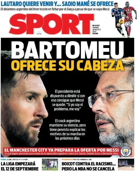 Portada Sport Bartomeu dimisión