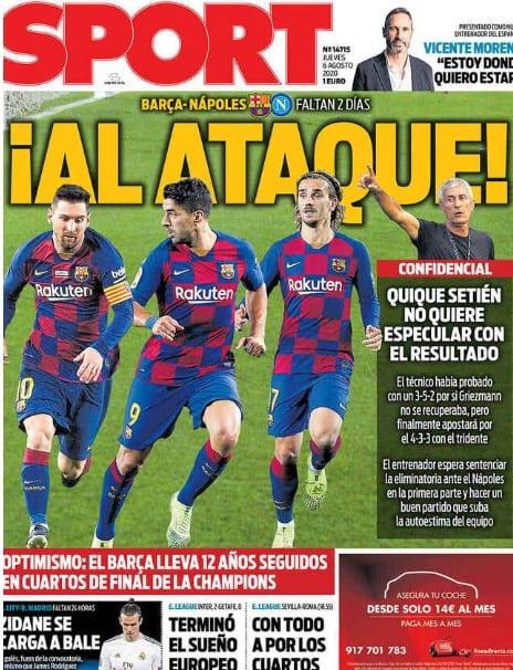 Messi, Suárez y Griezmann contra Nápoles