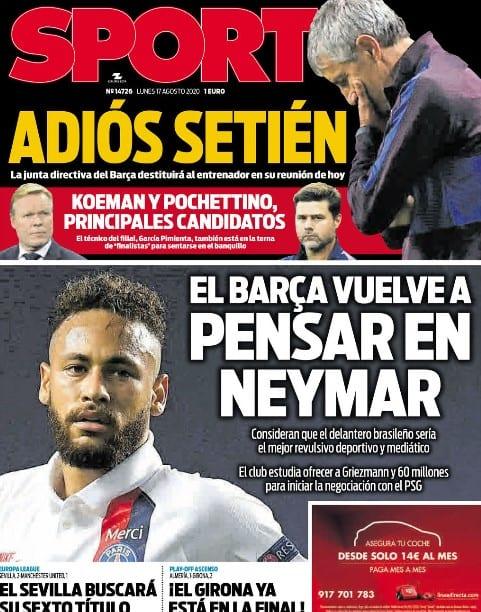 Portada Sport el Barça y Neymar