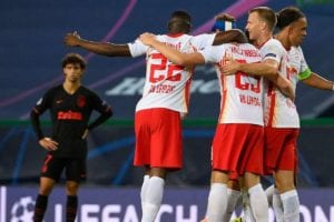 El Leipzig celebra un gol ante el Atlético de Madrid.