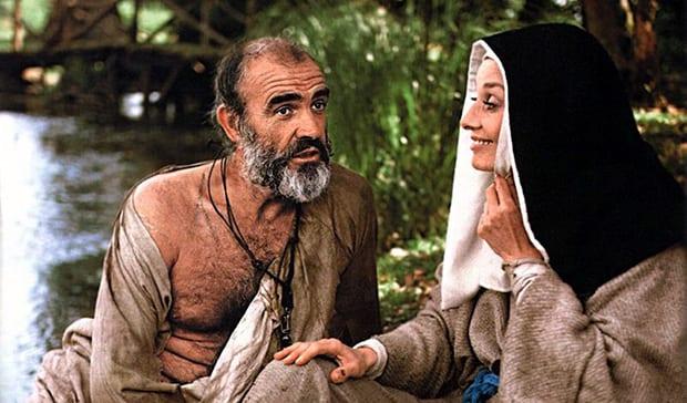 """Sean Connery y Audrey Hepburn en """"Robin y Marian""""."""