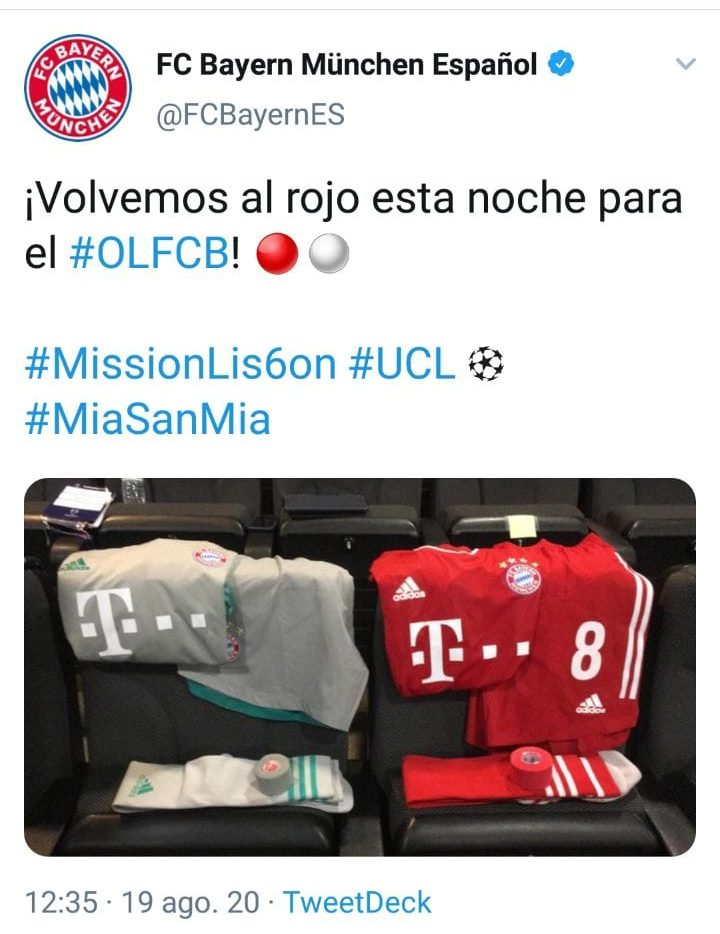 Tweet del Bayern de Múnich.
