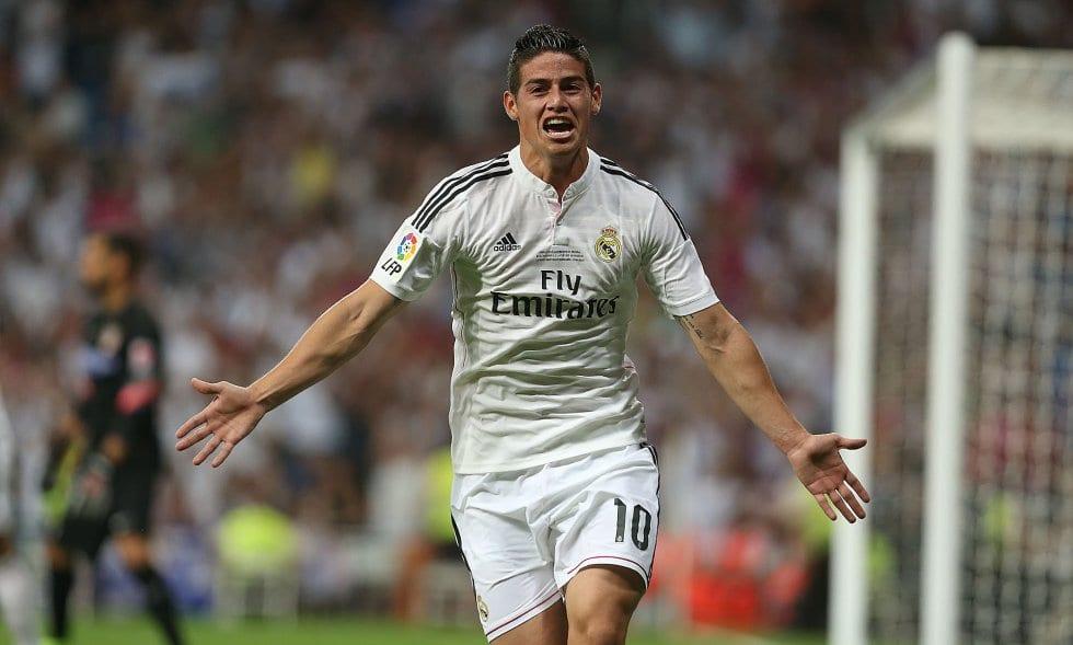 James Rodríguez celebra un gol.