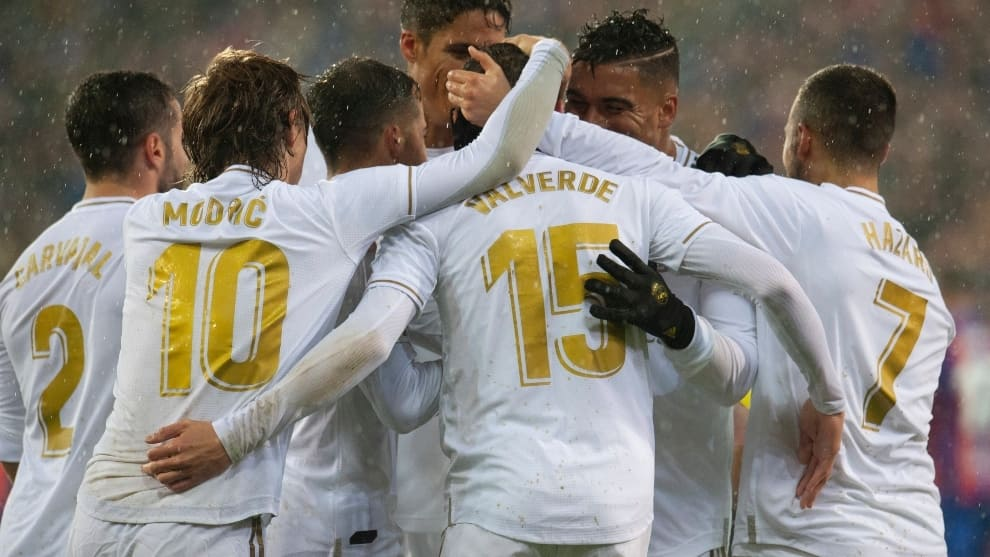 El Real Madrid celebra un gol.