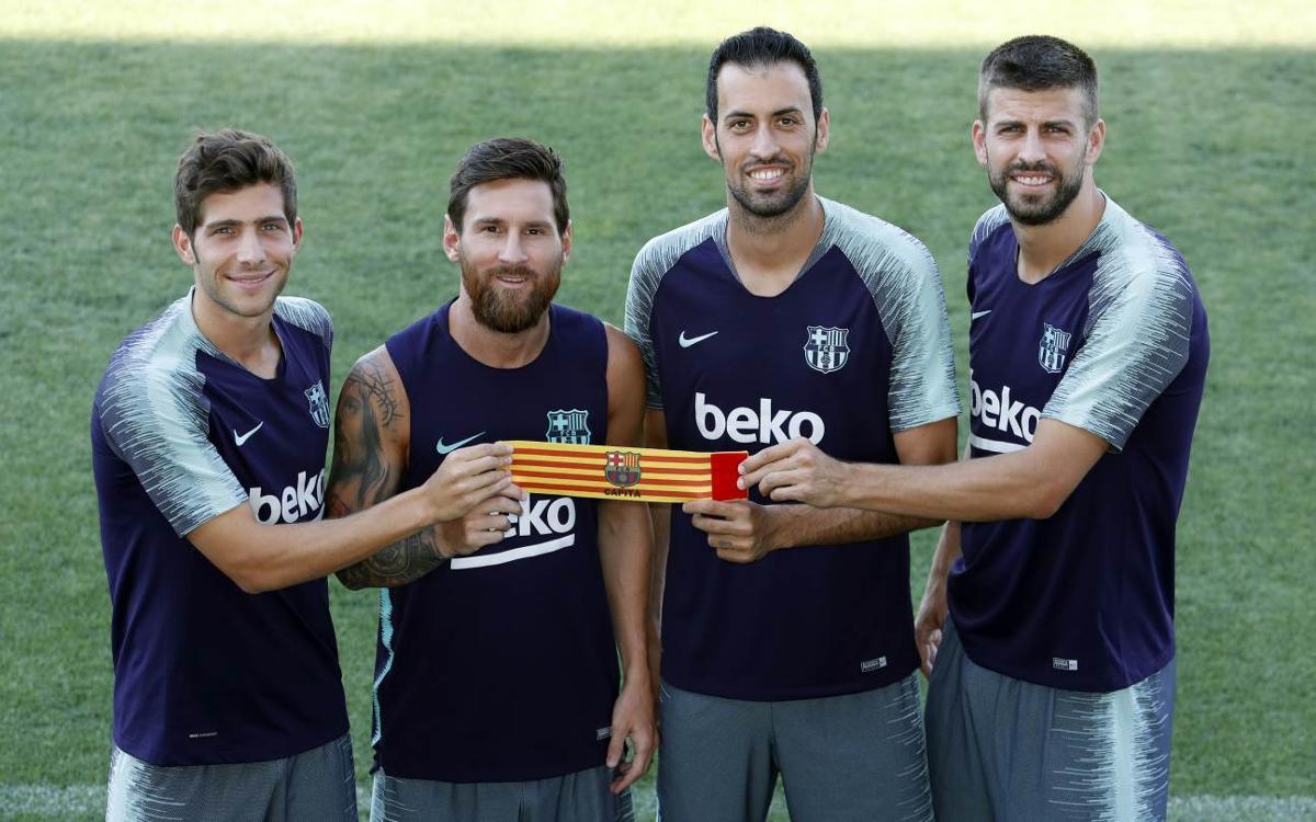 Los cuatro capitanes del FC Barcelona.