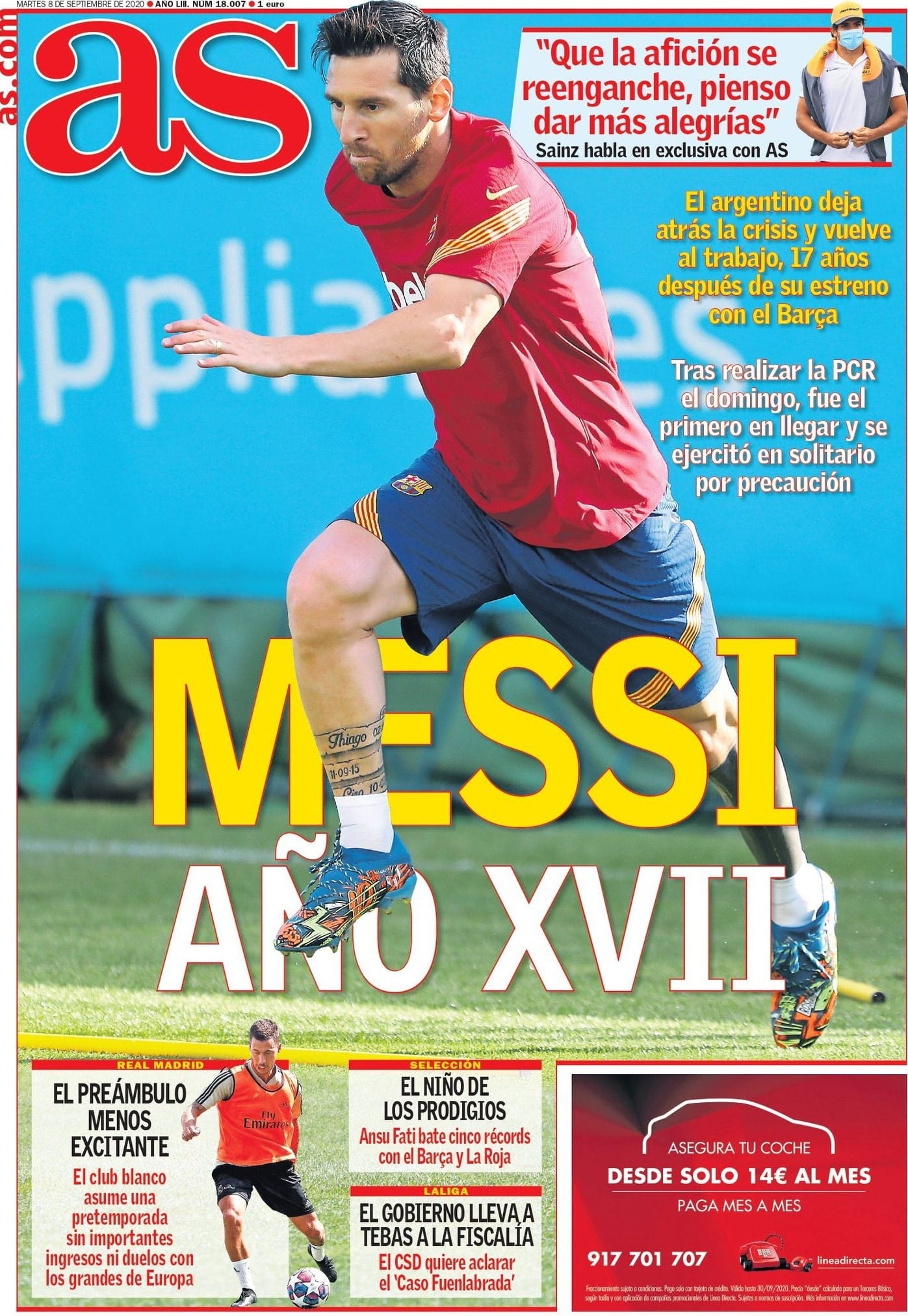 Portada AS Messi vuelta entrenamiento