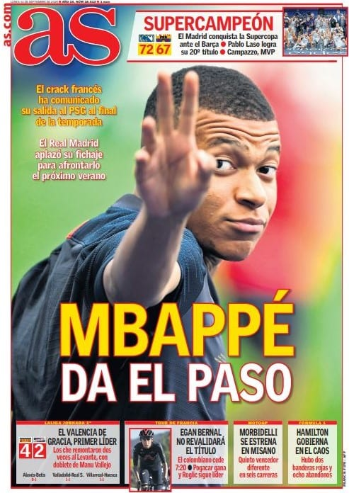 Portada AS Mbappé da el paso