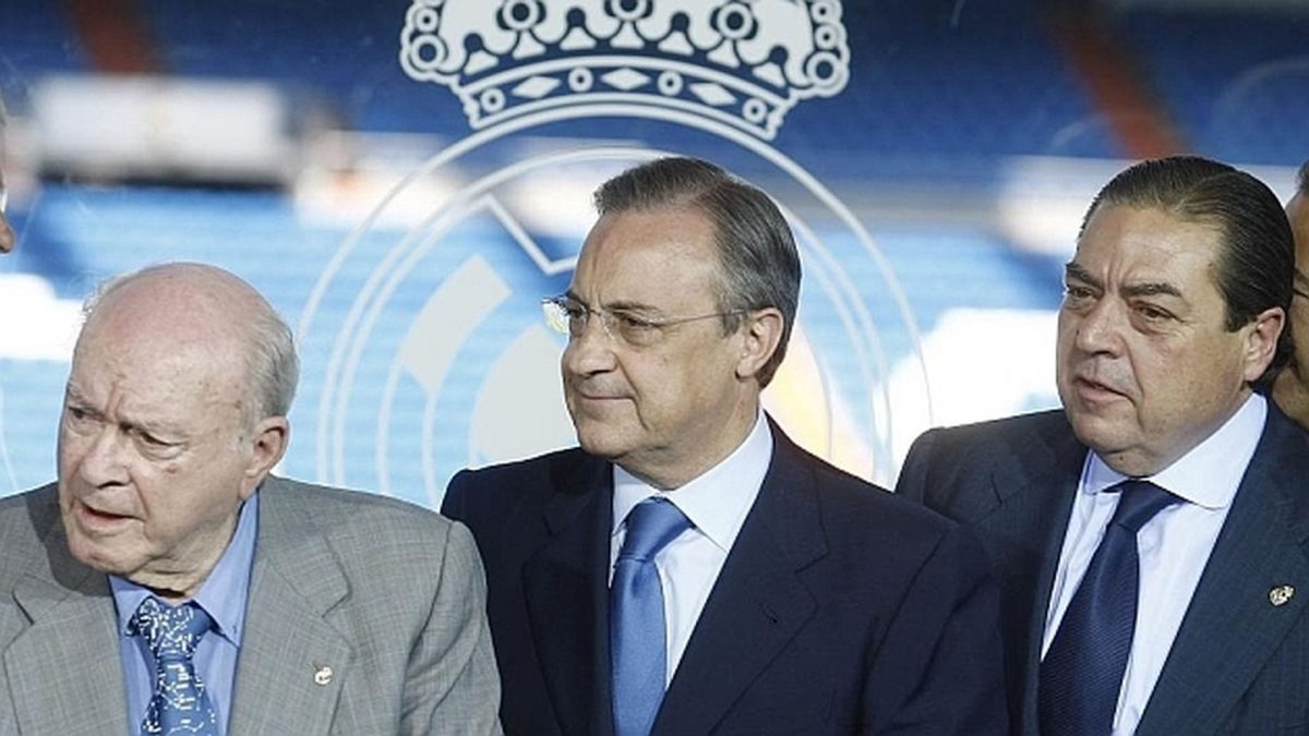 Di Stéfano, Florentino Pérez y Vicente Boluda.