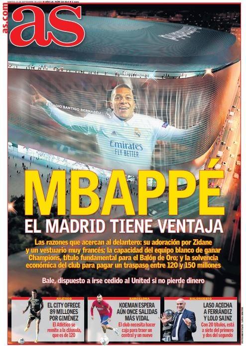 Portada As Mbappé Madrid con ventaja