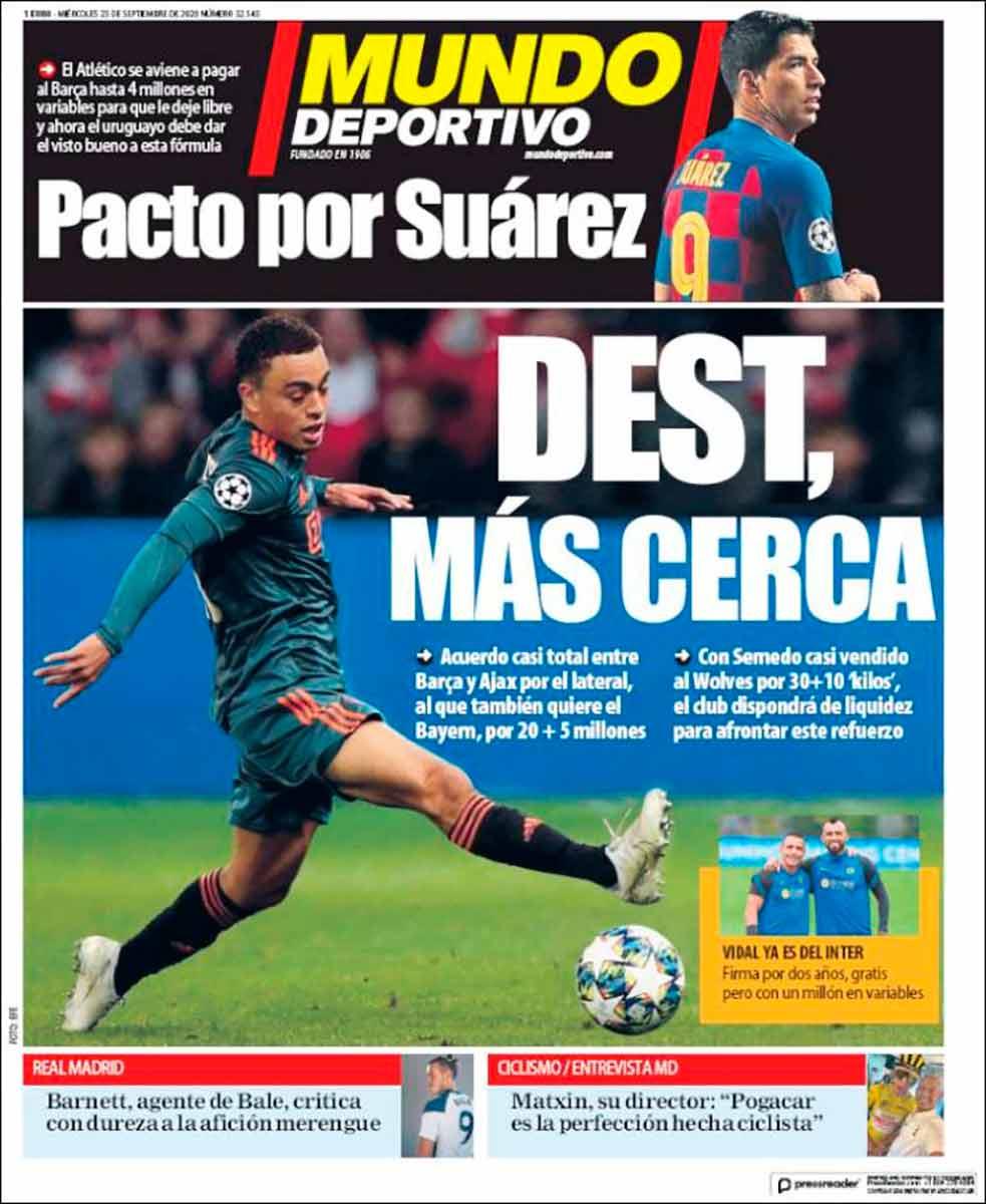 Portada Mundo Deportivo fichaje Dest