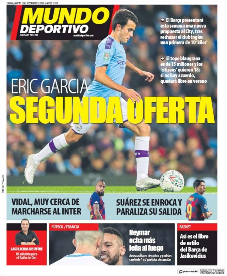 Portada Mundo Deportivo Eric García segunda oferta