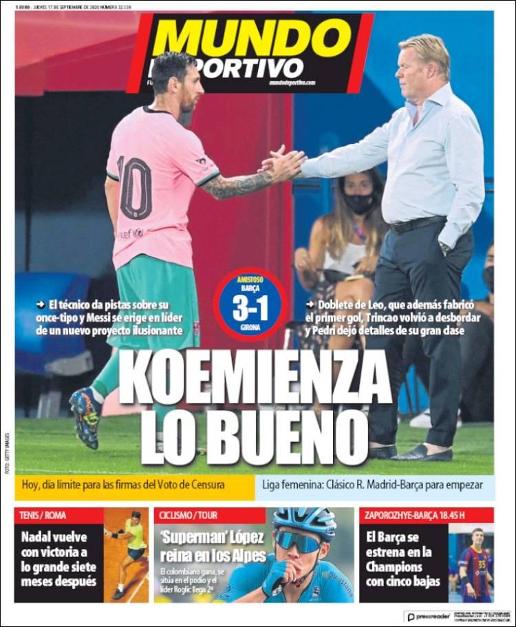Portada Mundo Deportivo saludo Messi y Koeman