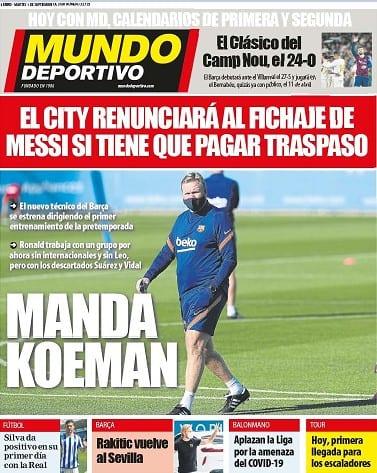 Portada Mundo Deportivo Manda Koeman