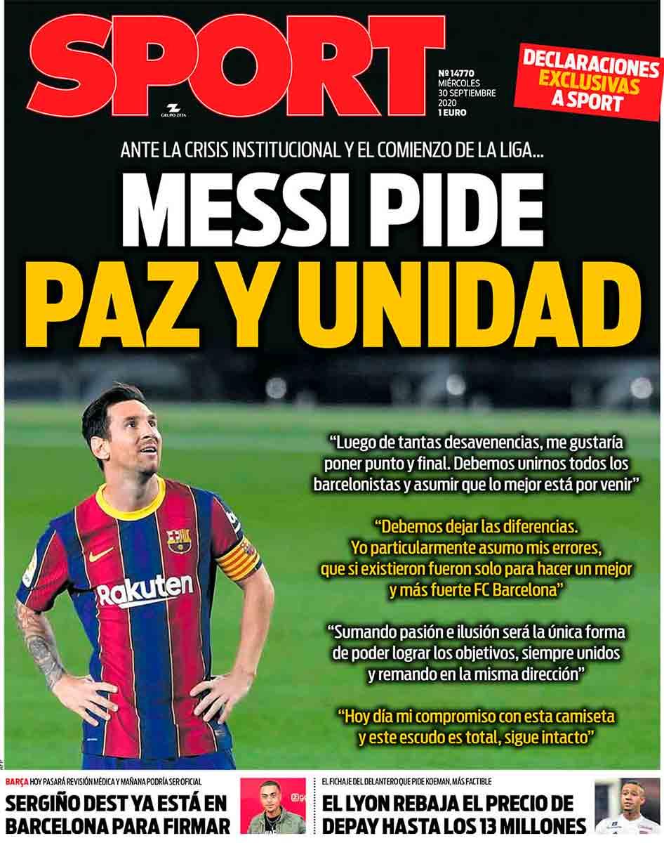 Portada Sport Messi pide paz y unidad