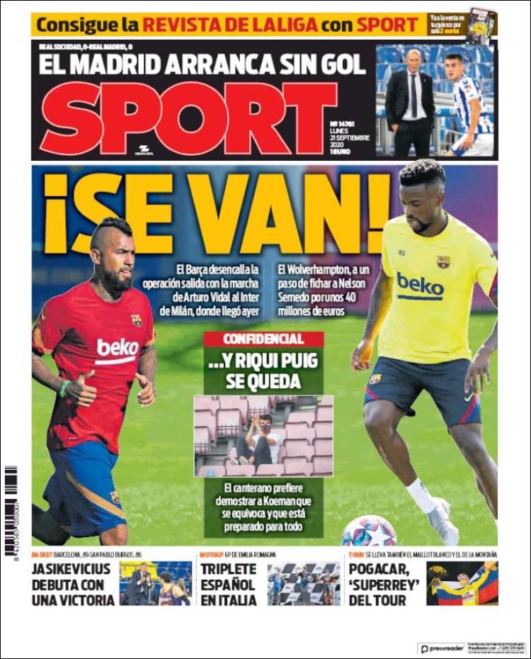 Portada Sport venta Semedo y Vidal