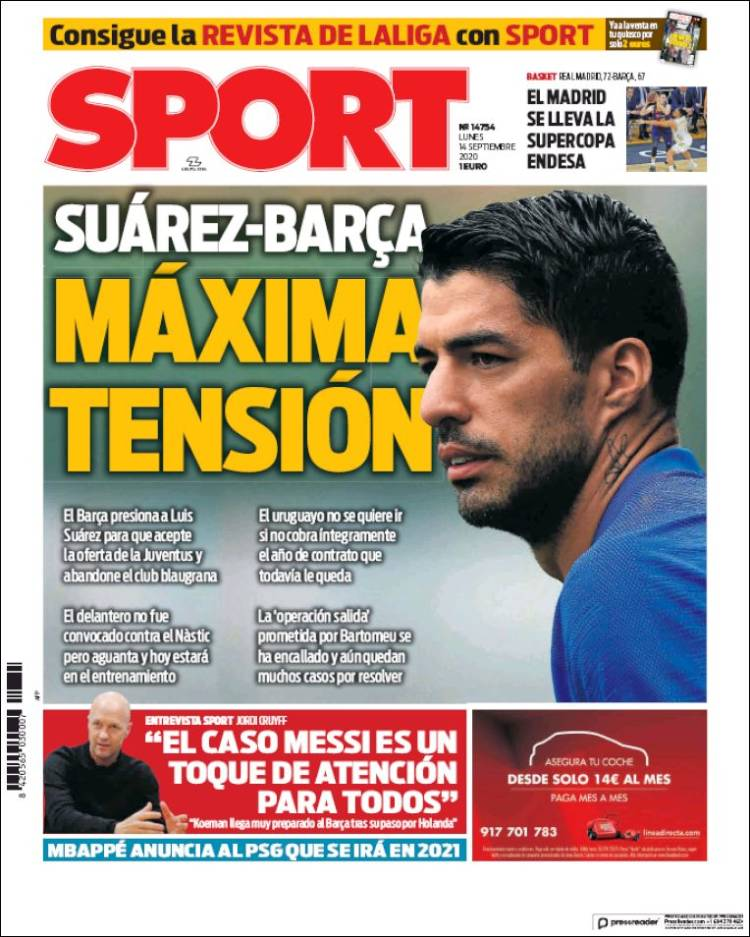 Portada Sport Suárez tensión Barça