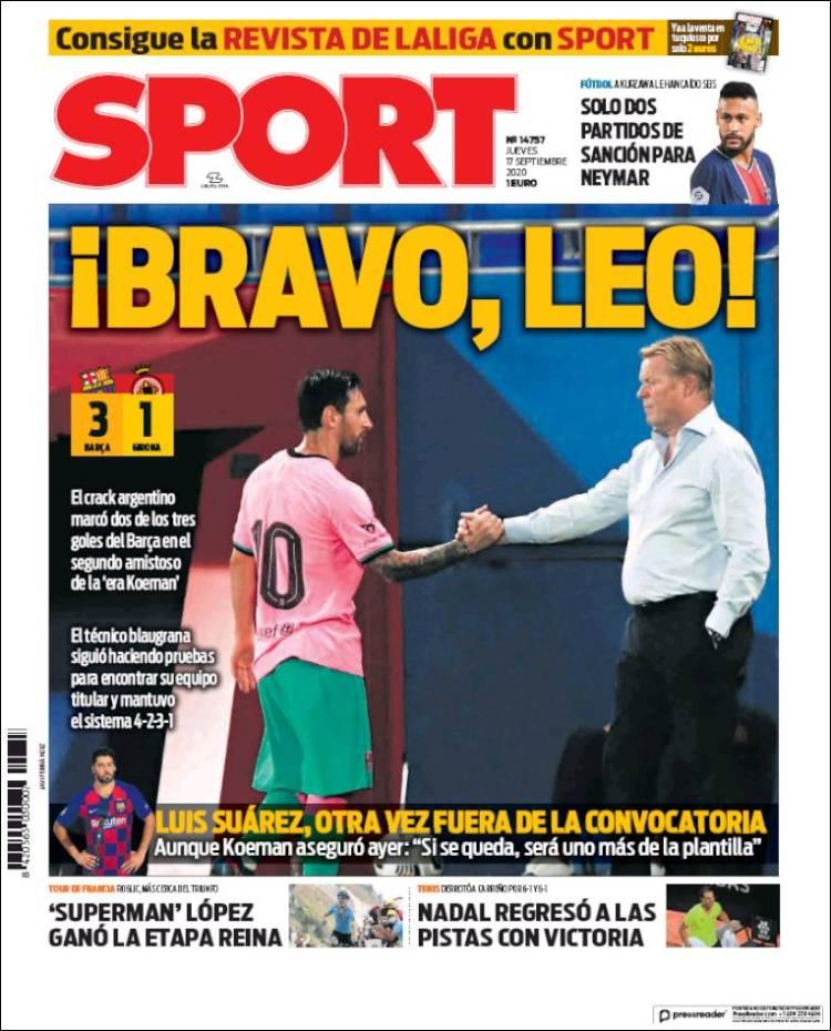 Portada Sport saludo Messi y Koeman