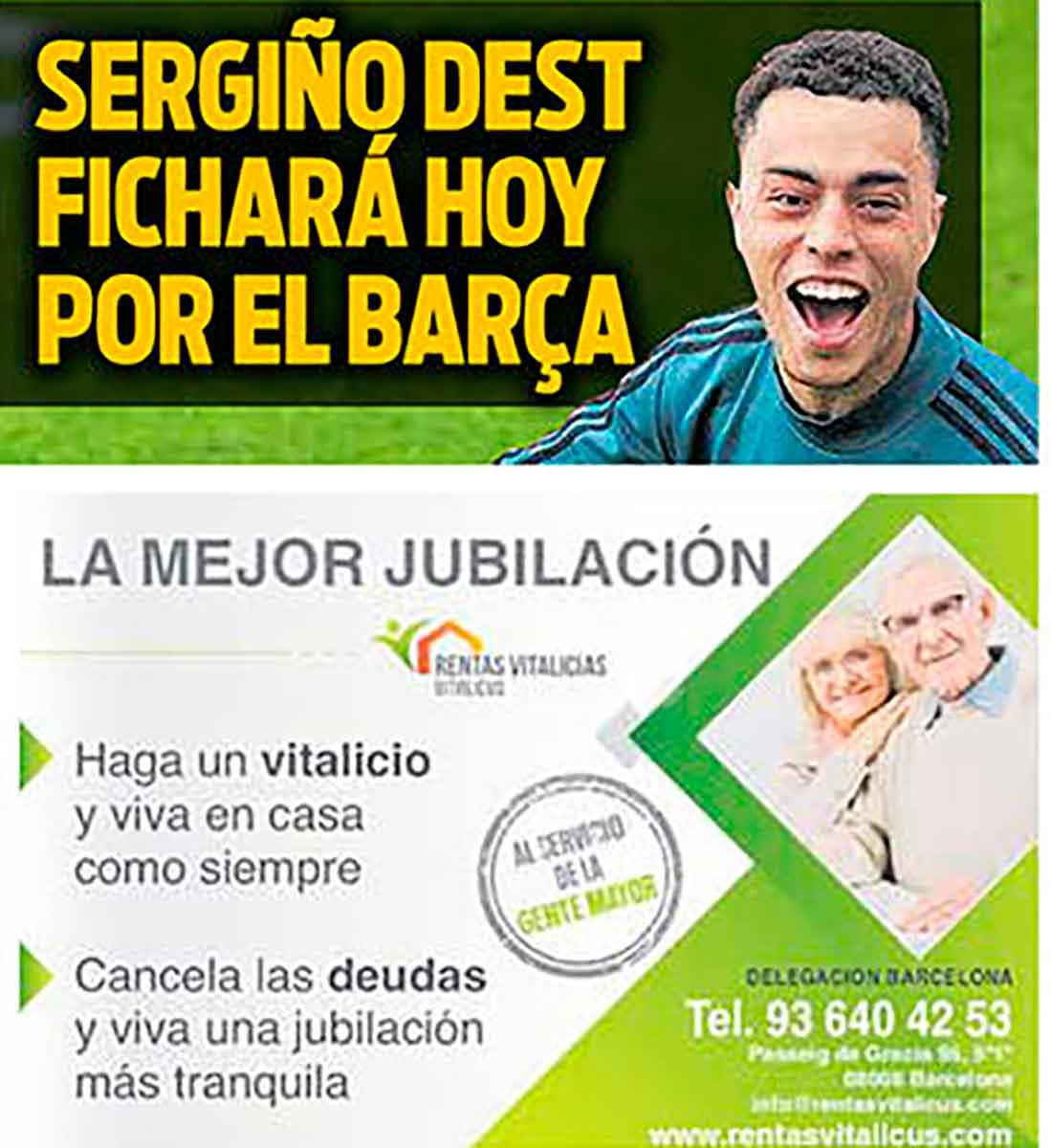Portada Sport Sergiño ficha Barça