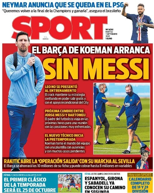 Portada Sport arranca Barça Koeman