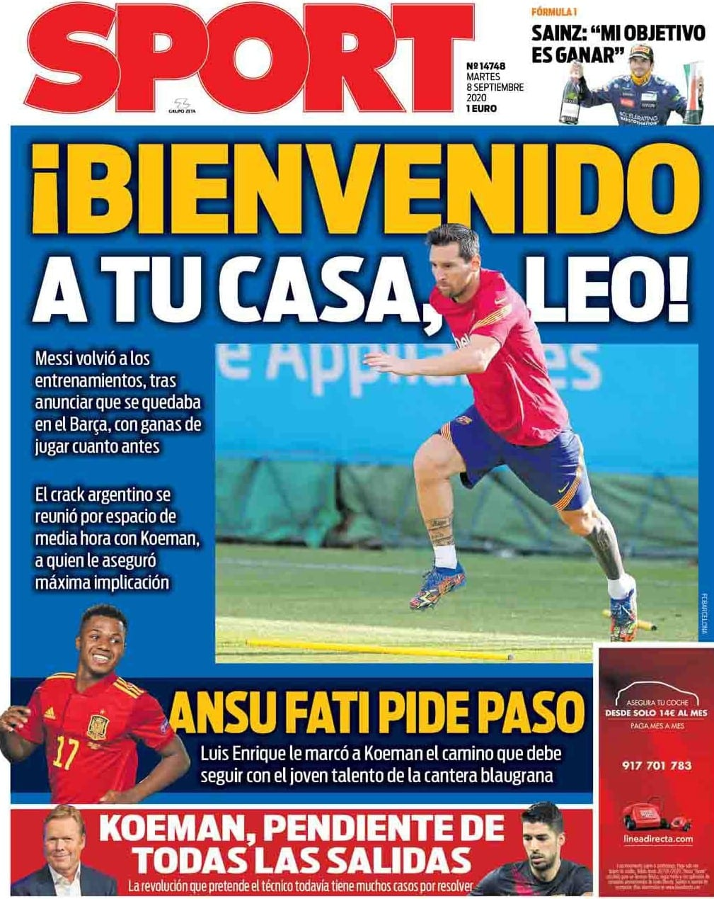 Portada Sport Messi vuelve a casa