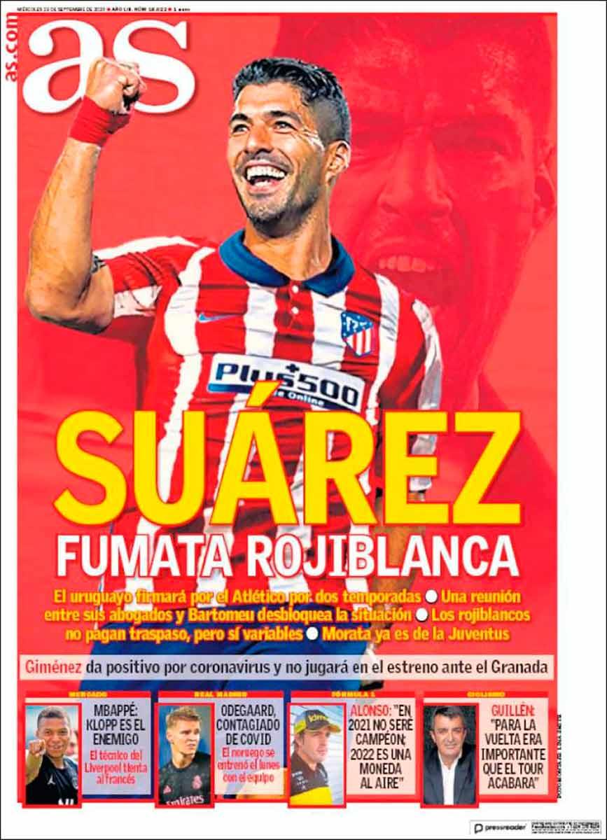 Portada AS fichaje Suárez Atleti