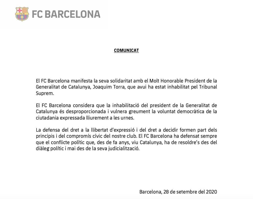 comunicado barcelona torra