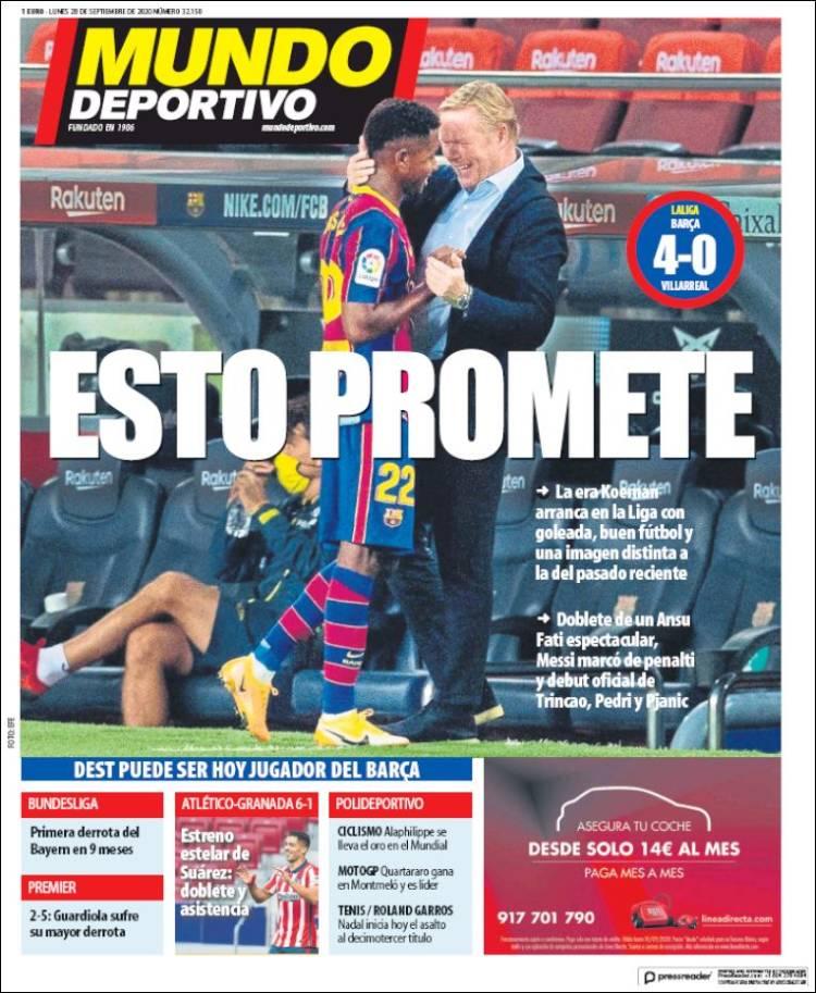 Portada Mundo Deportivo debut Barça
