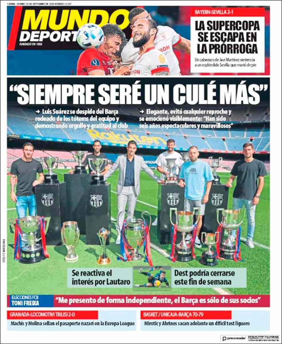 Portada Mundo Deportivo adiós Luis Suárez