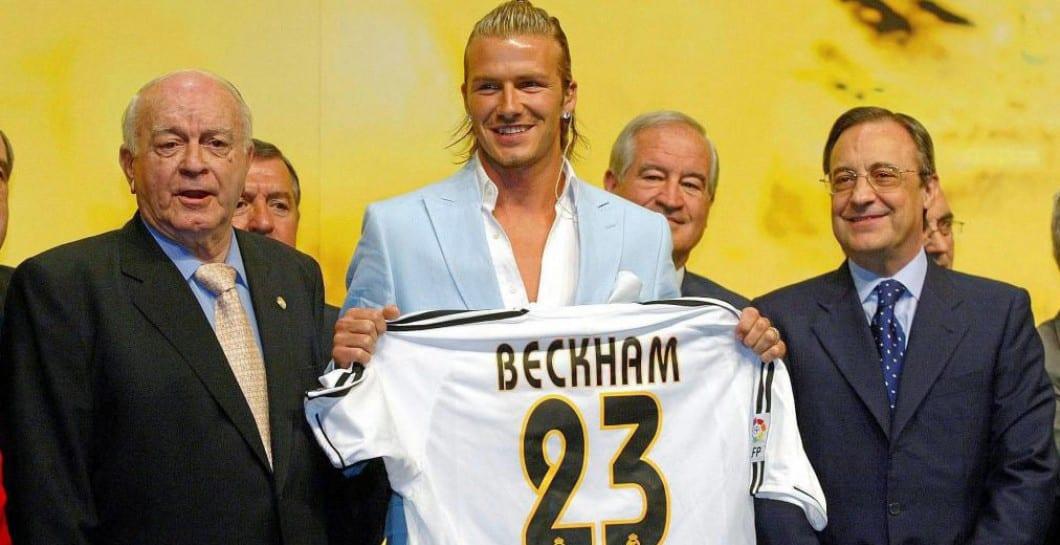Presentación de Beckham en el Real Madrid.