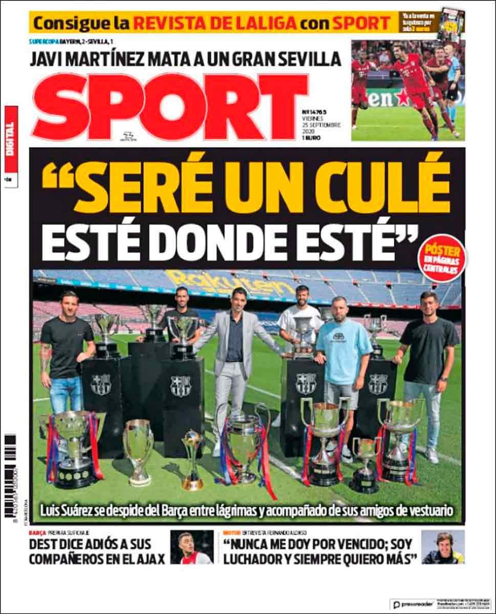 Portada Sport adiós Luis Suárez