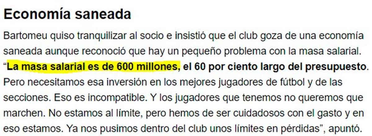 Masa salarial Barça