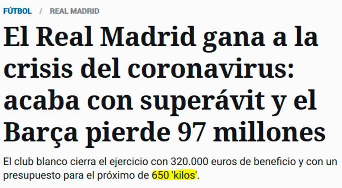 Barça Madrid coronavirus balances