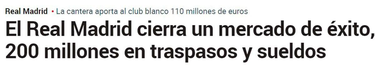 Ingresos Real Madrid 2020