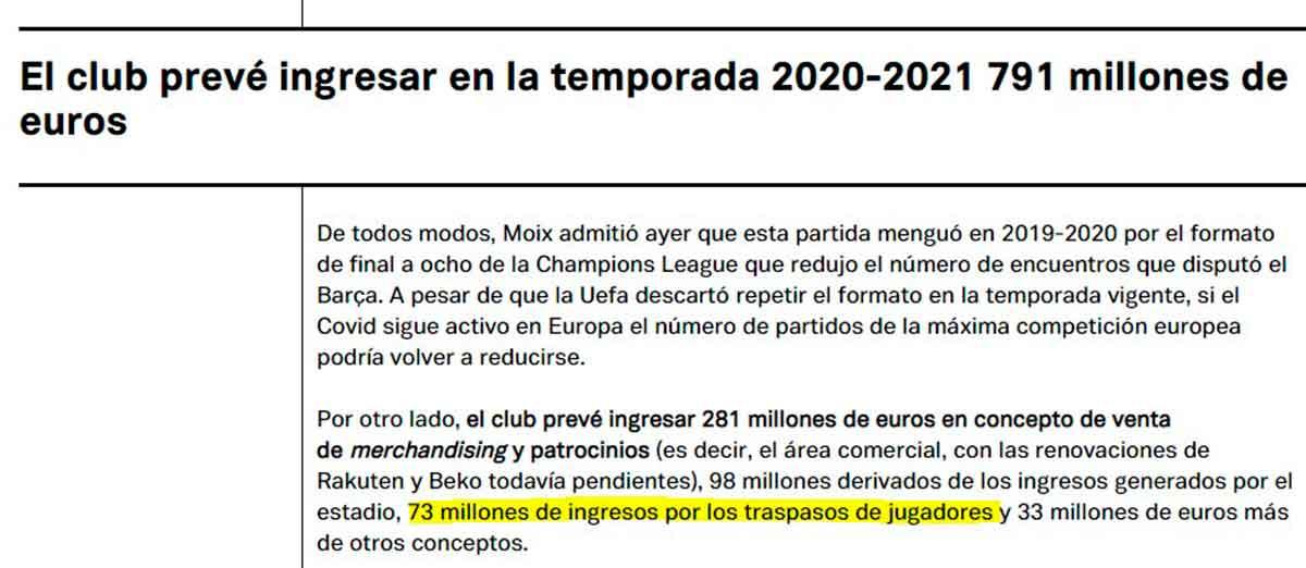 Previsión ingresos Barça 2021