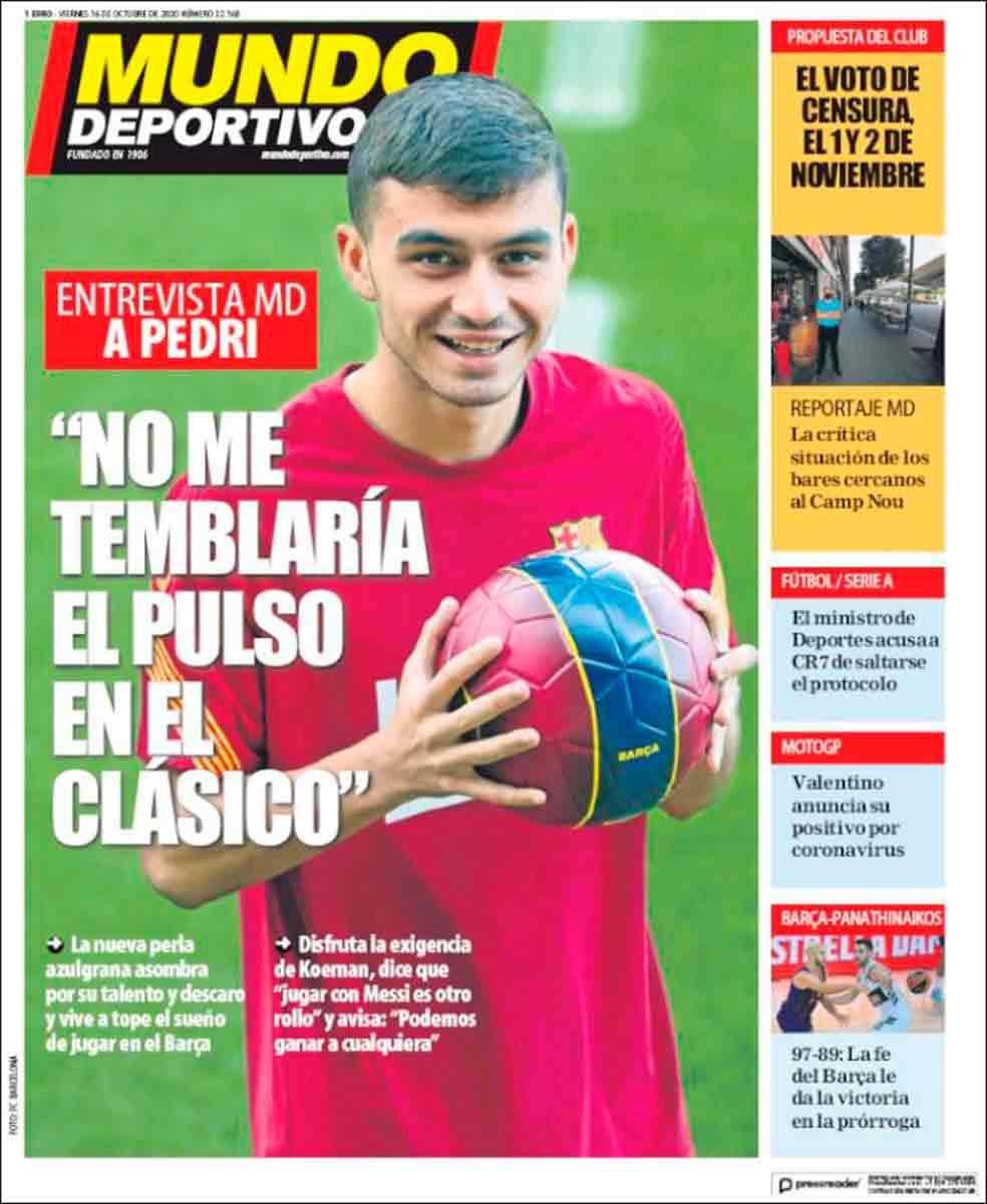Portada Mundo Deportivo Pedri Clásico